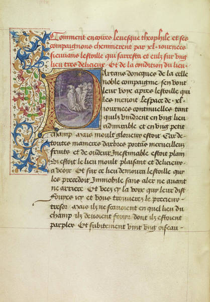 Forty Painting - Initial P Bishop Theophilus And His Companions Following by Litz Collection