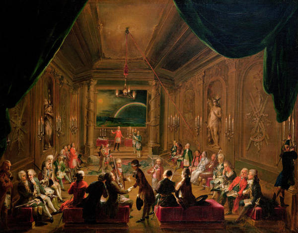 Mozart Photograph - Initiation Ceremony In A Viennese Masonic Lodge During The Reign Of Joseph II, With Mozart Seated by Ignaz Unterberger