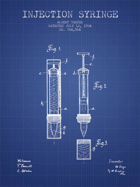 Needles Digital Art - Injection Syringe Patent From 1904 - Blueprint by Aged Pixel