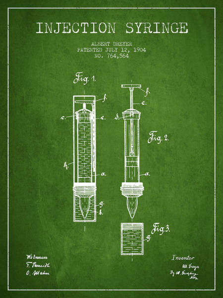 Needles Digital Art - Injection Syringe Patent From 1904 - Green by Aged Pixel