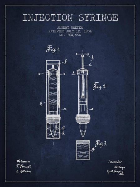 Needles Digital Art - Injection Syringe Patent From 1904 - Navy Blue by Aged Pixel