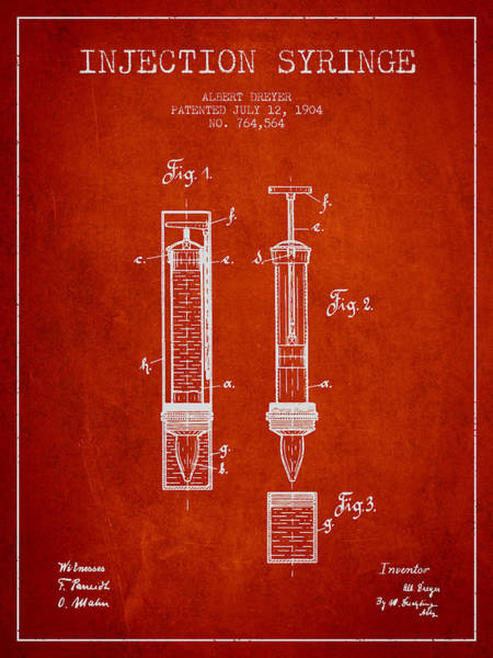 Needles Digital Art - Injection Syringe Patent From 1904 - Red by Aged Pixel