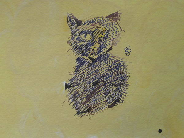 Drawing - Ink Cat by AJ Brown