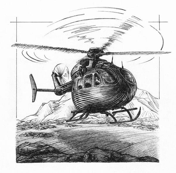 Utility Helicopter Photograph - Ink Drawing Of Uh-72 Lakota Helicopter by Alayna Guza
