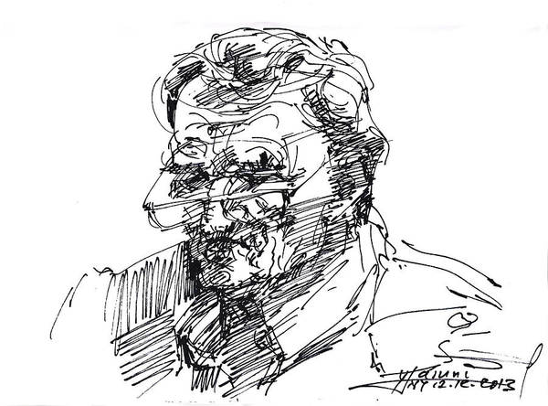Portraits Drawing - Ink Sketch by Ylli Haruni