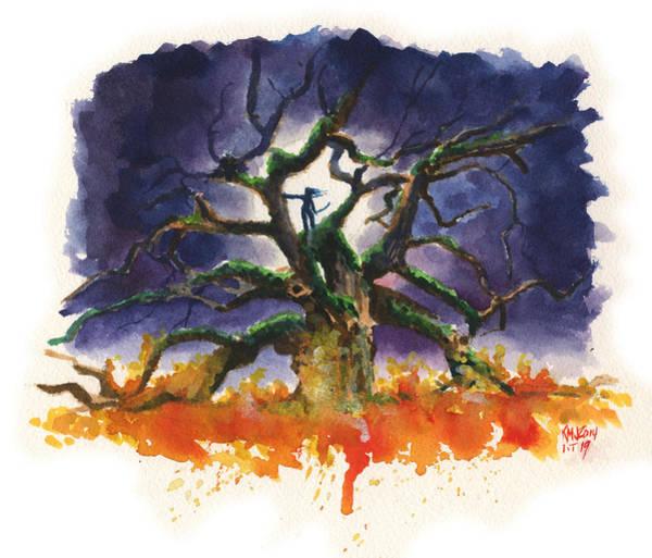 Wall Art - Painting - Inktober 19 Burning Tree by Ken Meyer