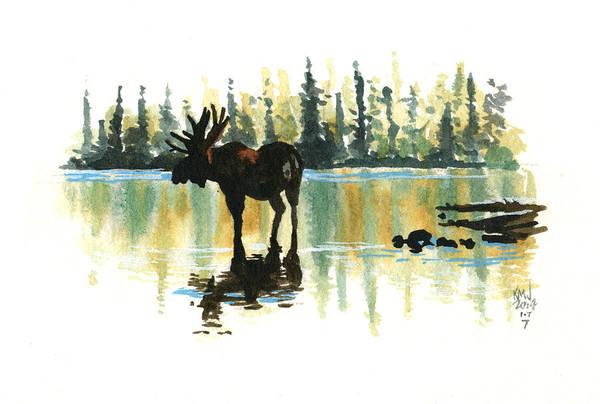 Moose Painting - Inktober 7 Loner by Ken Meyer