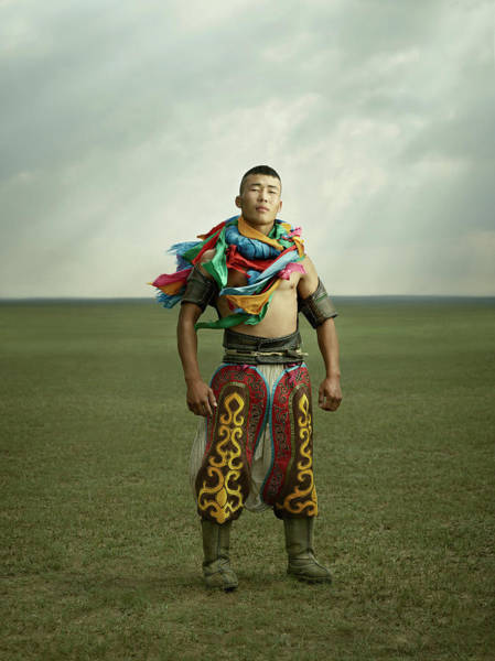 Chinese Clothing Wall Art - Photograph - Inner Mongolian Wrestlers by Ken Hermann