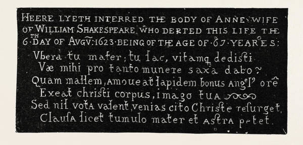 Gravestone Drawing - Inscription On The Gravestone Of Shakespeares Wife by English School