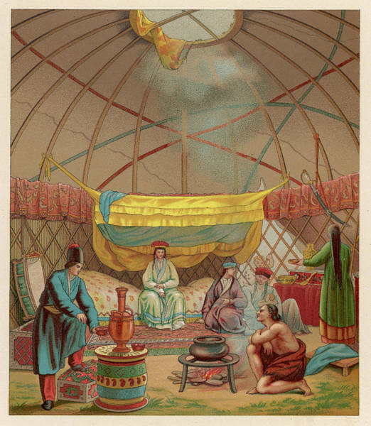 Nomad Drawing - Inside A Kibitka - The Tent by Mary Evans Picture Library