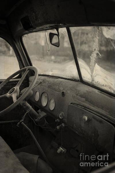 Photograph - Inside An Old Junker Car by Edward Fielding