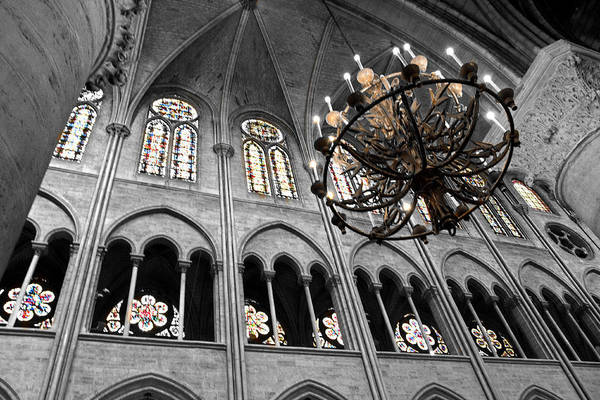 Photograph - Inside Notre Dame Chandelier And Stain Glass Windows by Denise Dube