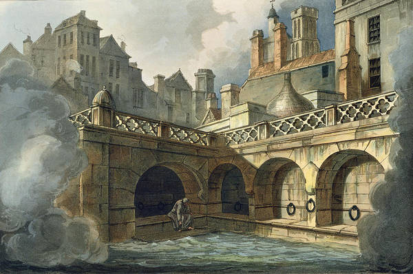 Pool Drawing - Inside Of Queens Bath, From Bath by John Claude Nattes
