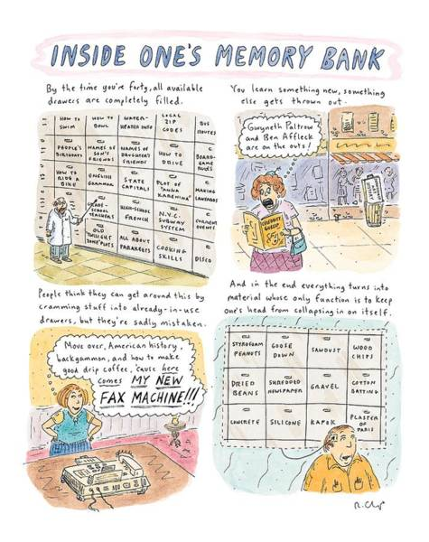 Wall Art - Drawing - 'inside One's Memory Bank' by Roz Chast