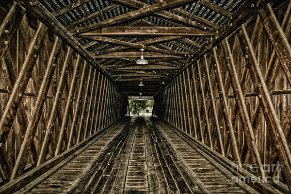 Photograph - Inside The Euharlee Bridge by Barbara Bowen