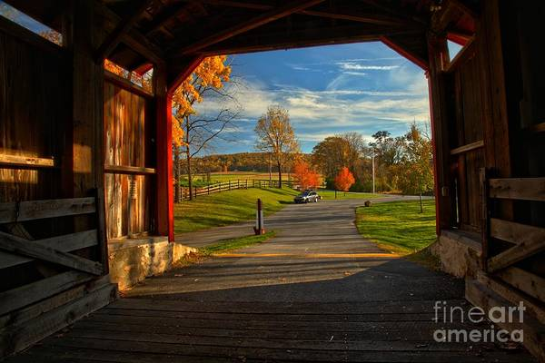 Photograph - Inside The Poole Forge Covered Bridge by Adam Jewell