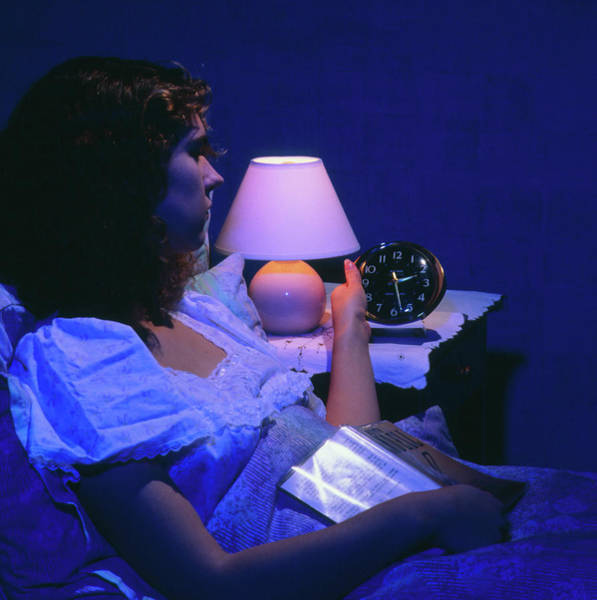 Sleep Disorder Photograph - Insomnia Woman In Bed Looking At Clock by Sheila Terry/science Photo Library