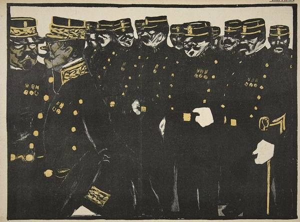 Row Drawing - Inspection Of A Line Of Police by Georges d' Ostoya