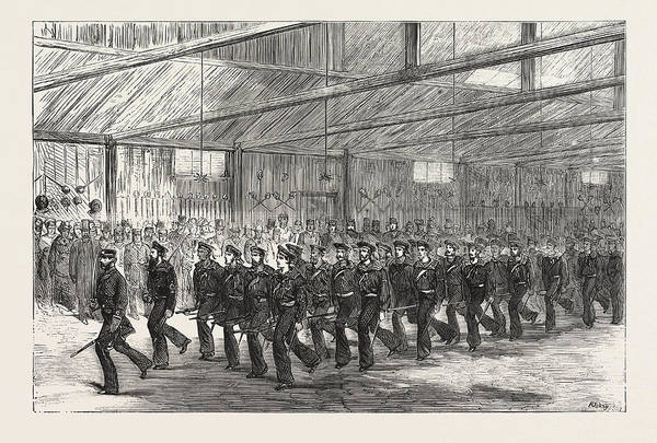 Wall Art - Drawing - Inspection Of The Royal Naval Artillery Volunteers by English School