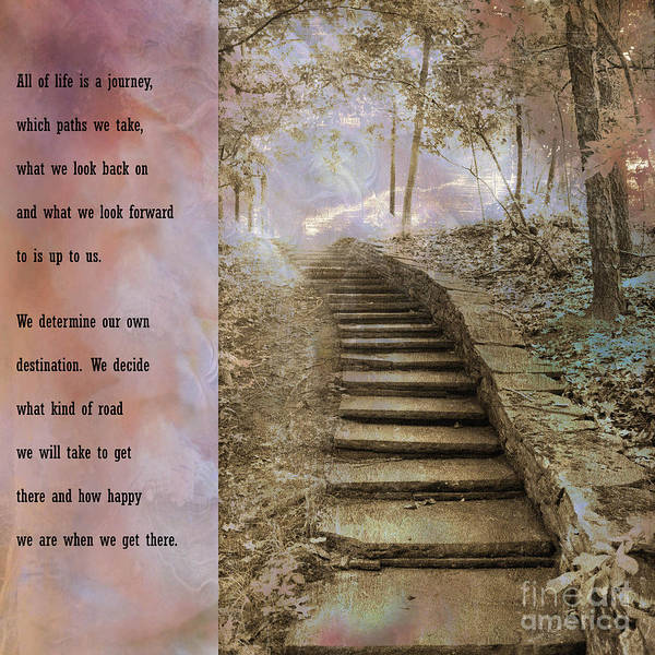 Inspirational Quote Photograph - Inspirational Art Nature - Stairs To Heaven - Dreamy Nature by Kathy Fornal