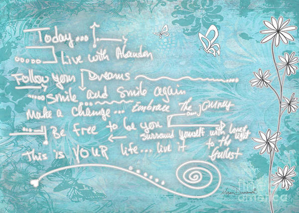 Wall Art - Painting - Inspirational Floral Butterfly Quote Live Life Art By Megan Duncanson by Megan Duncanson