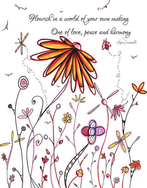 Wall Art - Painting - Inspirational Floral Ladybug Dragonfly Daisy Art With Uplifting Quote By Megan Duncanson by Megan Duncanson