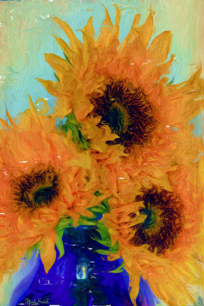 Sunflower Seeds Photograph - Inspired By Van Gogh - Digital Painting  by Heidi Smith