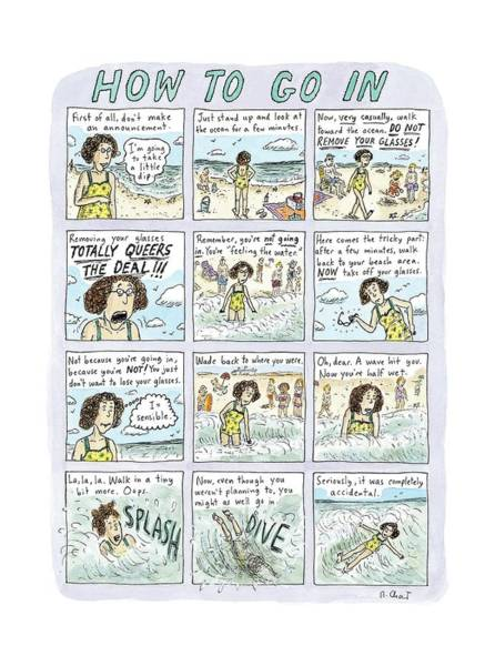 2010 Drawing - Instructions For Getting Into The Ocean by Roz Chast