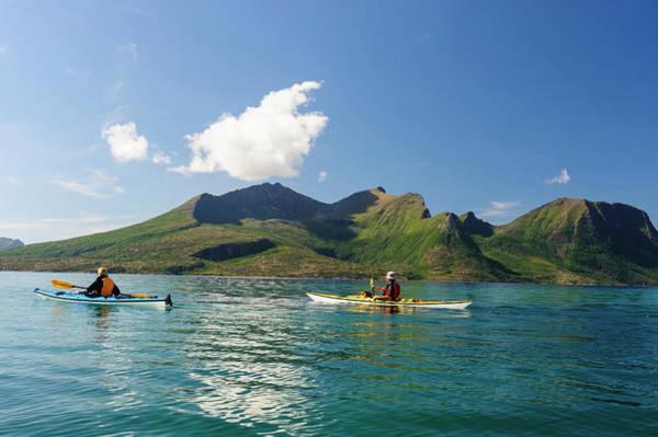 Oar Photograph - Instructors Sea Kayaking In Fjords by Danita Delimont