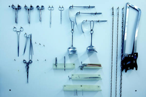 Morgue Photograph - Instruments For Autopsy Examinations by Mauro Fermariello/science Photo Library