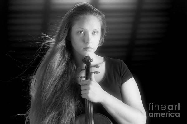 Photograph - Intense Violin Musician Color by M K Miller