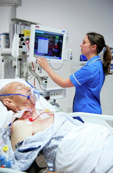 Attending Wall Art - Photograph - Intensive Care Patient by Lth Nhs Trust/science Photo Library