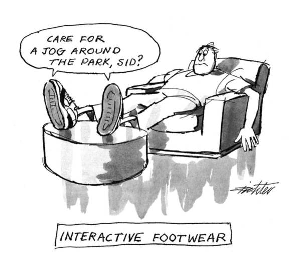 Lounging Drawing - Interactive Footwear by Mischa Richter