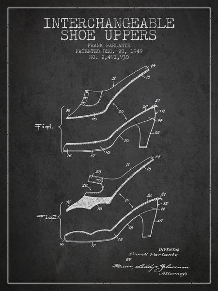 Lace Digital Art - Interchangeable Shoe Uppers Patent From 1949 - Charcoal by Aged Pixel