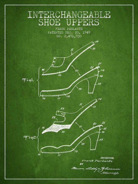 Lace Digital Art - Interchangeable Shoe Uppers Patent From 1949 - Green by Aged Pixel