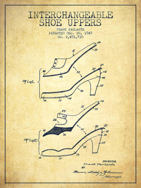 Lace Digital Art - Interchangeable Shoe Uppers Patent From 1949 - Vintage  by Aged Pixel