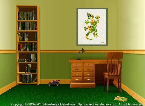 Digital Art - Interior Design Idea - Little Lizard - Animal Art by Anastasiya Malakhova