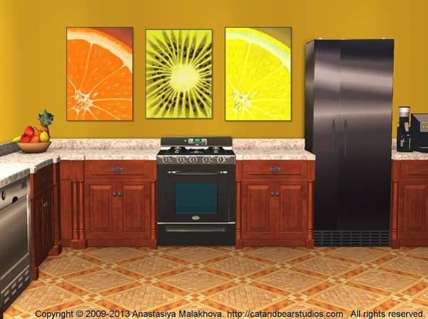 Digital Art - Interior Design Idea - Sweet Orange - Kiwi - Lemon by Anastasiya Malakhova