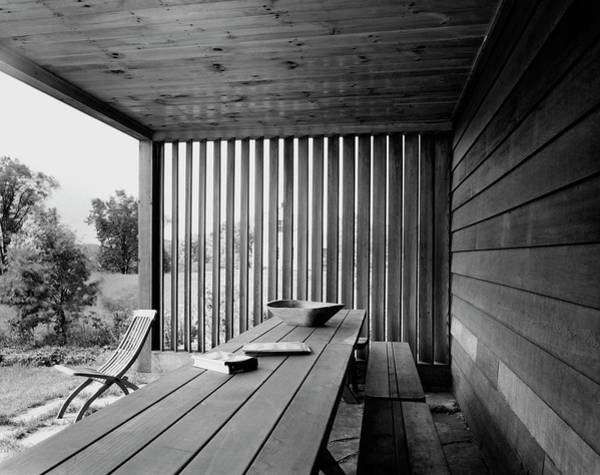 Outdoor Furniture Photograph - Interior End Of Porch With Vertical Louvers by P.A. Dearborn