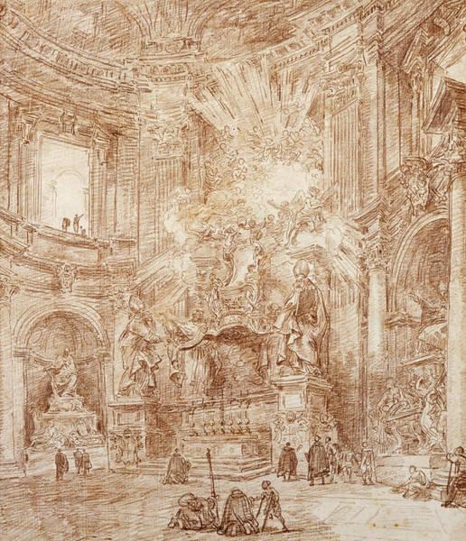 Baroque Drawing - Interior Of A Church  by Hubert Robert