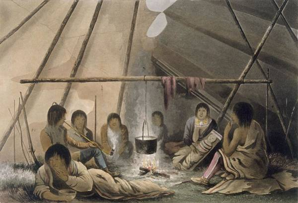 Native Drawing - Interior Of A Cree Indian Tent, 1824 by Lieutenant Hood