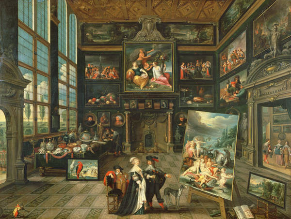 Work Of Art Photograph - Interior Of A Gallery, 1637 Oil On Panel by Cornelis de I Baellieur