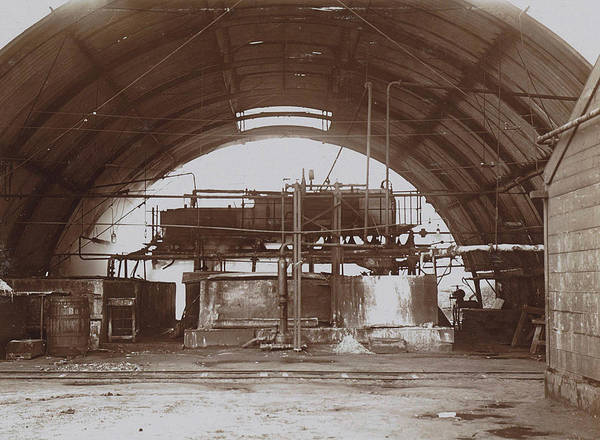 Wall Art - Drawing - Interior Of A Half-round Factory With A Machine And Pipe by Artokoloro