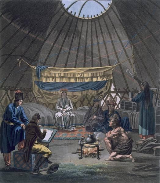 Oculus Wall Art - Drawing - Interior Of A Kalmuk Yurt, 1812-13 by E. Karnejeff