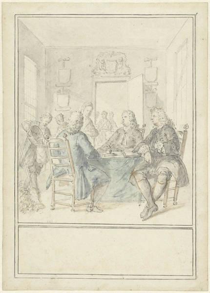 1715 Drawing - Interior Of A Mayors Room, Dionys Van Nijmegen by Quint Lox