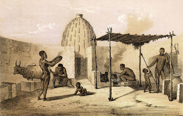 Wall Art - Drawing - Interior Of A Musgu Dwelling Dr by Mary Evans Picture Library