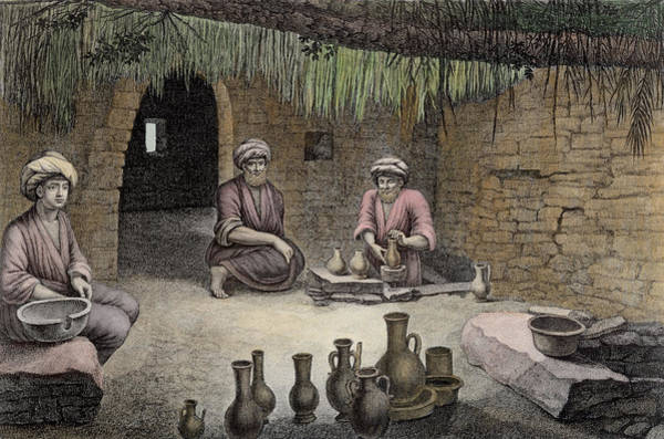 Potters Wheel Wall Art - Drawing - Interior Of A Potters Workshop by Nicolas Jacques Conte