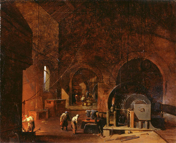 Oil Industry Painting - Interior Of An Ironworks, Godfrey Sykes, 1825-1866 by Litz Collection