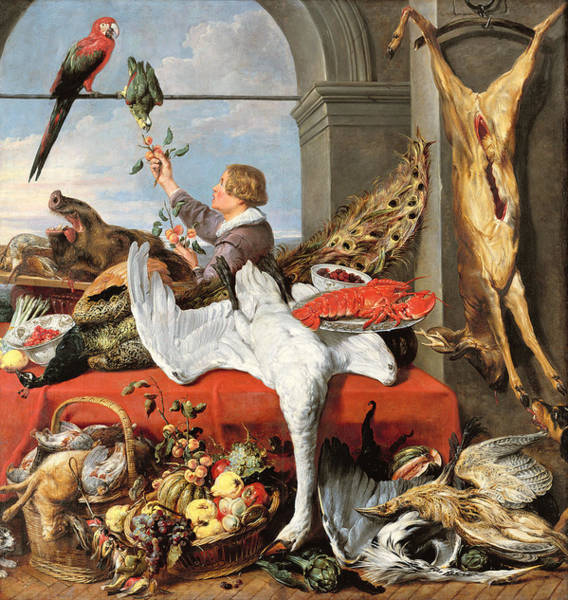 Bird Feeding Photograph - Interior Of An Office, Or Still Life With Game, Poultry And Fruit, C.1635 Oil On Canvas by Frans Snyders or Snijders
