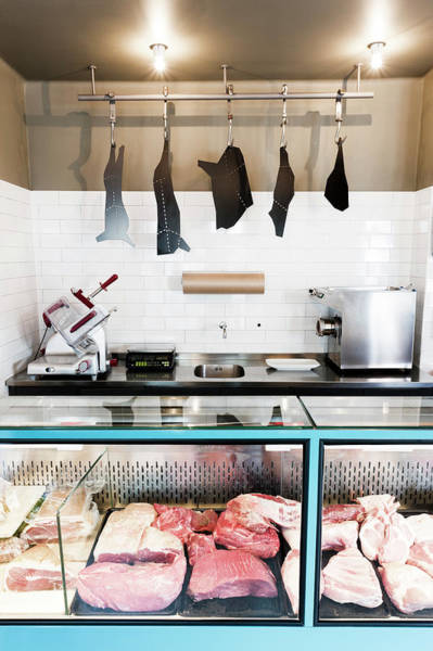 Raw Meat Photograph - Interior Of Butcher by Johner Images